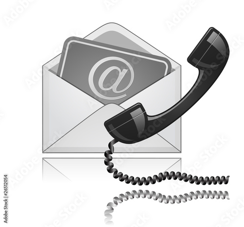 """Contact Us"" vector illustration. Phone receiver and e-mail"