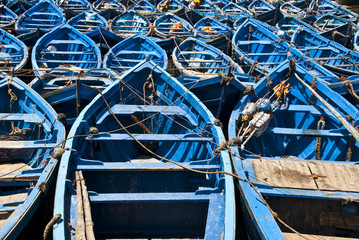 Blue fishing boats in Essaouira (Morocco)