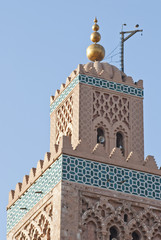 Top of Koutoubia mosque minaret in Marrakech (Morocco)