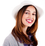Young smiling face model wearing hat