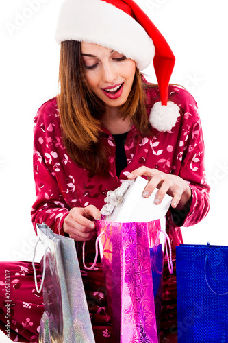 young woman with christmas gifts