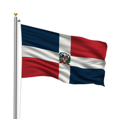 Flag of Dominican Republic waving over white background