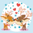 Two lovely reindeer in love on winter