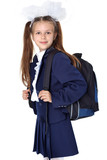 First day at school  - little girl with backpack - Fine Art prints