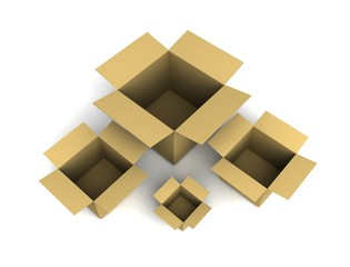 Boxes isolated on white. 3d illustration