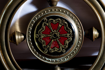 metal wheel with inlay of gold and silver