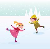 Fototapety Winter: Ice skating little girl and boy. Vector Illustration.