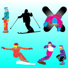 skier and snow borders vector group