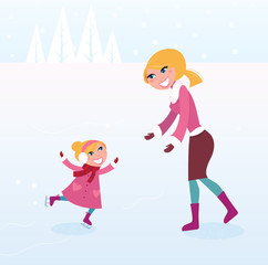 Christmas ice skating: Mother and daughter on ice. VECTOR