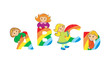 Color Letter ABCD and kids