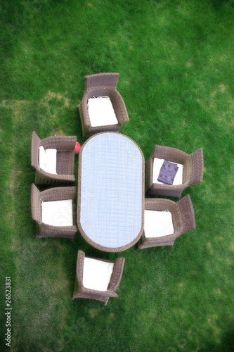 an elevated view of outdoor furniture in the garden