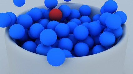 3d blue balls filling a basket in a white space