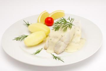 Seelachsfilet mit Dillsoße,Salzkartoffeln