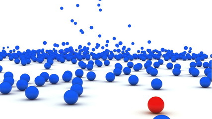 3d animation of balls falling down against a white background