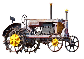 Old farm tractor isolated. Clipping path included.