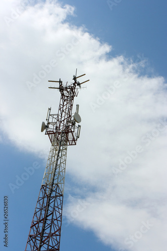 TV and radio translation tower against a blue sky