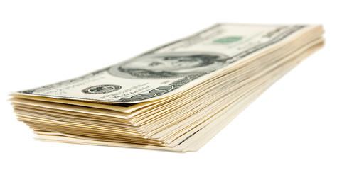 The hundred dollars bundle isolated on white