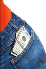 Jeans rear pocket with bundle of $100 bills