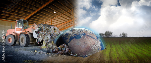 Ecology concept , planet earth in a scrap industrial site