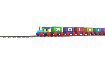"Animation of a 3d train carrying ""solution"" letters"