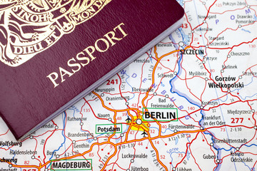Passport and Berlin Map