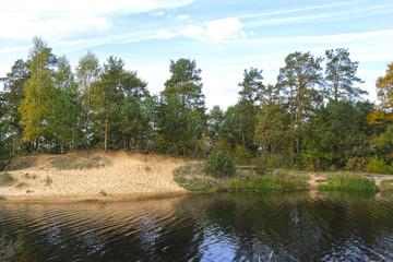 Wonderful panorama of autumnal lake.