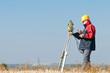 Leinwandbild Motiv surveyor theodolite worker