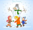 Happy kids and snowman celebrate Christmas.