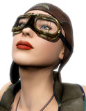 pilot girl look up white background poster