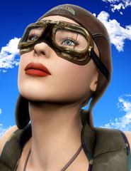 pilot girl look up blue sky
