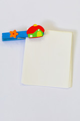 Wooden Paper Clip with white notepad