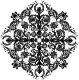 black floral rhombus decoration poster