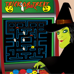 Witch playing halloween arcade game vector