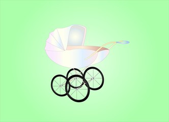 antique baby buggy ( background on separate layer )