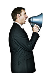 Shouting through megaphone