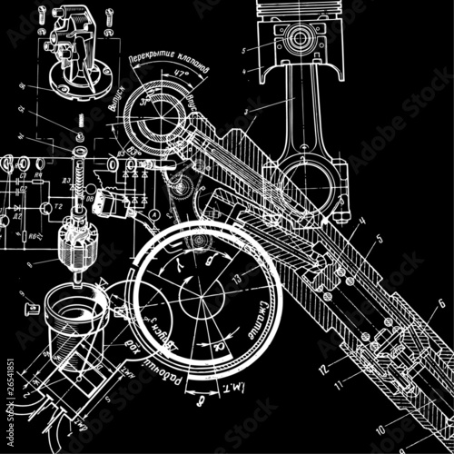 Wall mural technical drawing