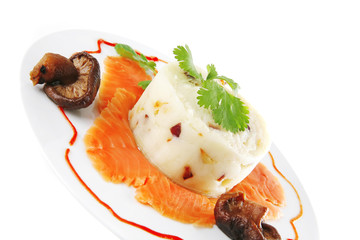 salmon slice with mash
