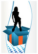 Party girl in a gift box. Standing and dancing silhouette vector