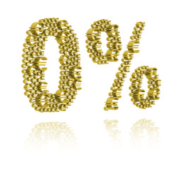 3D Illustration of zero percent