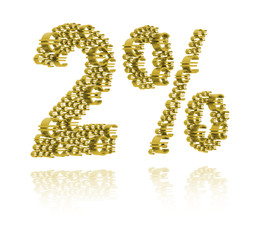 3D Illustration of  two percent