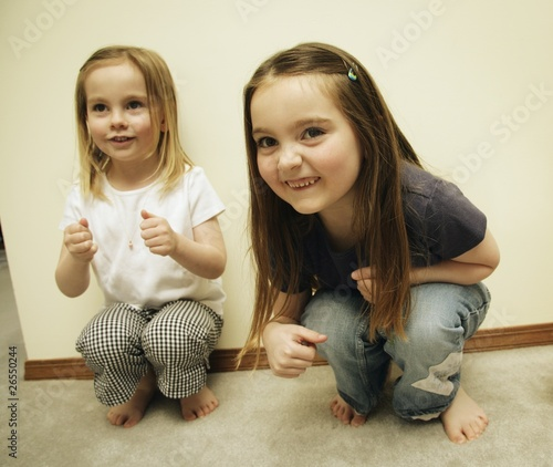 Two Small Girls Playing