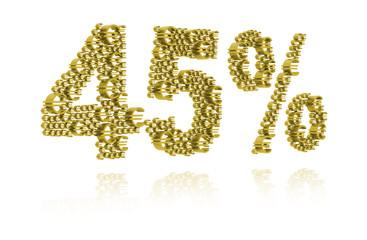 3D Illustration of forty-five percent
