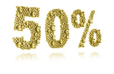 3D Illustration of fifty percent