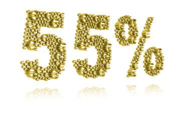 3D Illustration of fifty-five percent