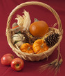 Basket of pumpkins, corn, pine cone with apples