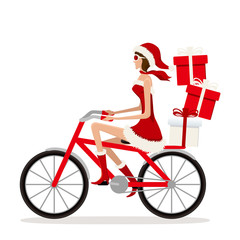 Bicycle Santa Girl