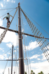 Mast of the replica of a Columbus's ship