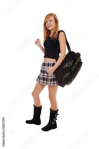 Schoolgirl with back bag.