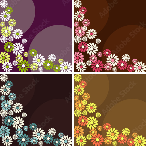 Collection of square retro backgrounds with flowers