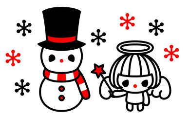 クリスマス 雪だるまと天使